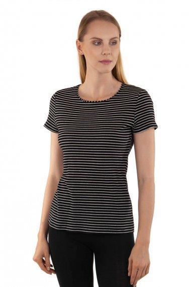 Удобна памучна блуза с къси ръкави на райе Lisca Cheek Romance SS2020