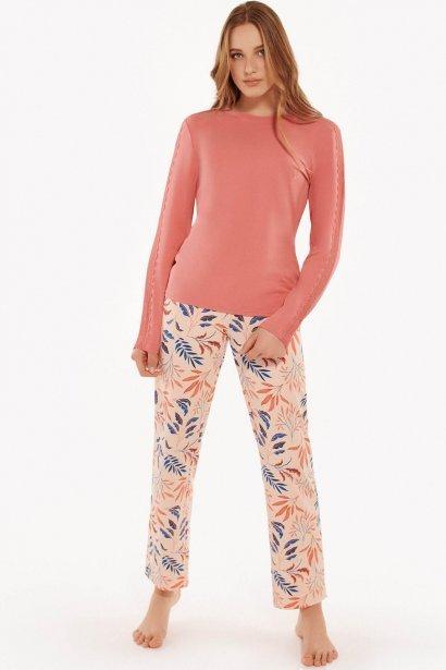 Класическа кройка памучна пижама и печат на цветя в розово и синьо Lisca Cheek Mellow AW2021