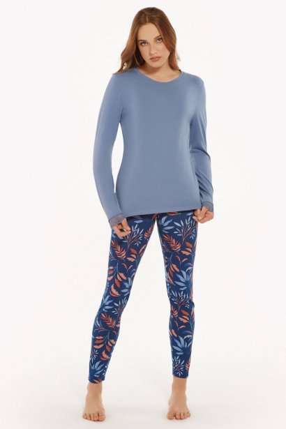 Памучна пижама с клин и печат на цветя в розово и синьо Lisca Cheek Mellow AW2021