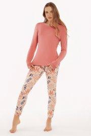 Памучна пижама с клин и печат на цветя в розово и синьо Lisca Cheek Mellow AW2021 Лиска Lisca Cheek от www.liscashop.bg