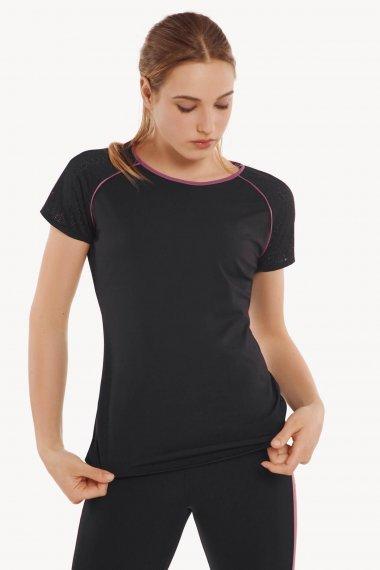 Дамскa спортна блуза с къс ръкав  за фитнес и спорт в черно Lisca Cheek Playful AW 2021