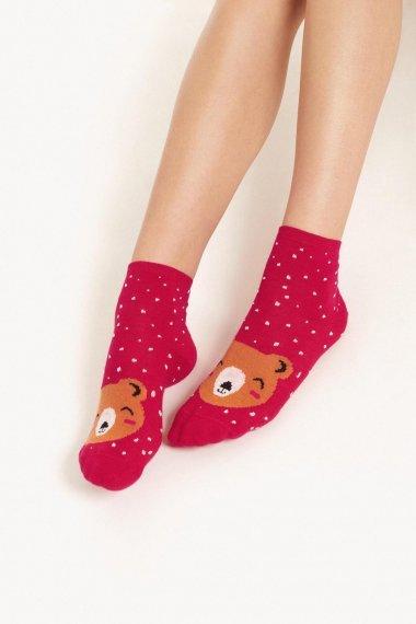 Червени памучни чорапи и щампа сладко мече Lisca Cheek Wonderland AW2021