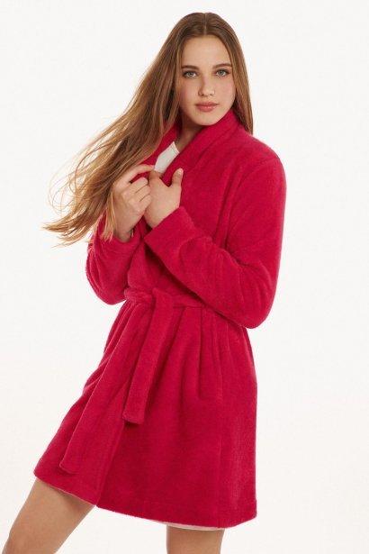 Плюшен халат с дълъг ръкав в червено и сметана Lisca Cheek Wonderland AW2021