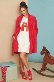 Плюшен халат с дълъг ръкав в червено и сметана Lisca Cheek Wonderland AW2021 Лиска Lisca Cheek от www.liscashop.bg
