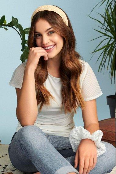 Блуза с прозрачни къс ръкав с кариран десен и кръгло деколте Lisca Cheek Limitless SS2021