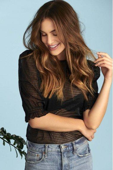 Модерна блуза с ширики 3/4 ръкави с кариран десен и кръгло деколте Lisca Cheek Limitless SS2021