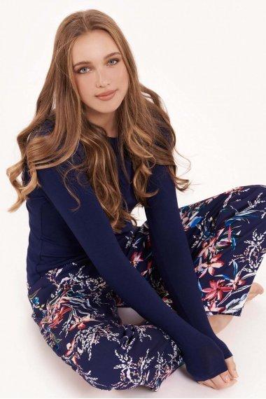 Дамска пижама с дълги панталонки и топ с дълги ръкави на цветя Lisca Fashion Harper SS2021