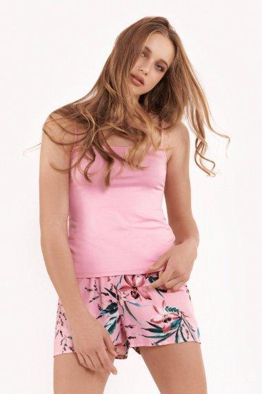 Дамска пижама с къси панталонки и топ с тънки презрамки на цветя Lisca Fashion Harper SS2021