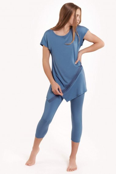 Женствена пижама с туника къси ръкави и клин Lisca Fashion Helen SS2021