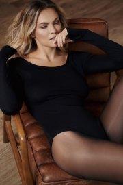 Елегантно черно боди с дълги ръкави и кръгло деколте Lisca Isa AW2021 Лиска Fashion от www.liscashop.bg
