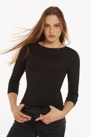 Удобна черна блуза с 3/4 ръкав и кръгло деколте Lisca Isa AW2021 Лиска Fashion от www.liscashop.bg