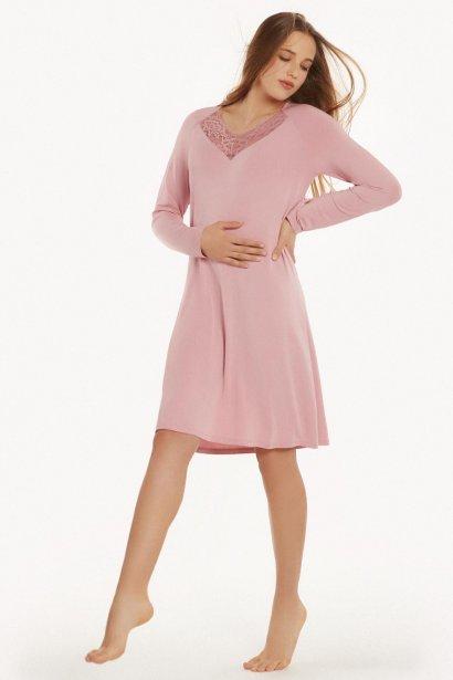 Дамска нощница с V деколте и дълги ръкави в розово - MR Lisca Isabelle AW2021