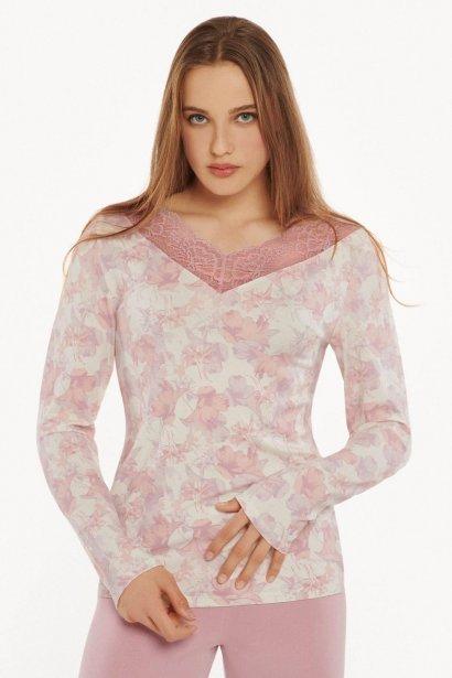 Дамска блуза с дълги ръкави в розово или в бяло на розови цветя Lisca Isabelle AW2021