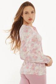Дамска блуза с дълги ръкави в розово или в бяло на розови цветя Lisca Isabelle AW2021 Лиска Fashion от www.liscashop.bg