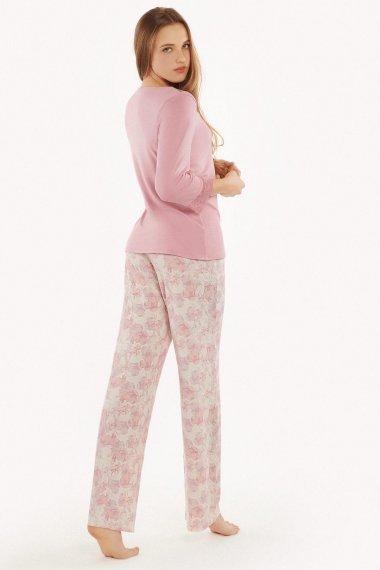 Дамски дълъг панталон в розово или в бяло на розови цветя Lisca Isabelle AW2021