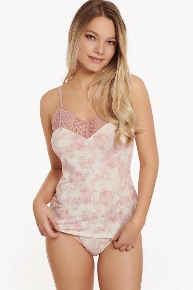 Корсаж с тънки презрамки в бяло на розови цветя Lisca Isabelle AW2021