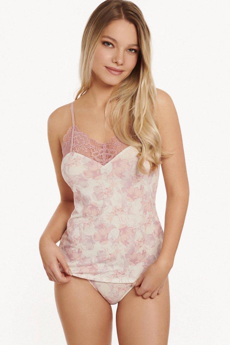 Корсаж с тънки презрамки в бяло на розови цветя Lisca Isabelle AW2021 Лиска Fashion от www.liscashop.bg