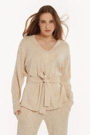 Удобна блуза с дълъг ръкав и колан Lisca Fashion Isadora KP - бежово AW2021 Лиска Fashion от www.liscashop.bg