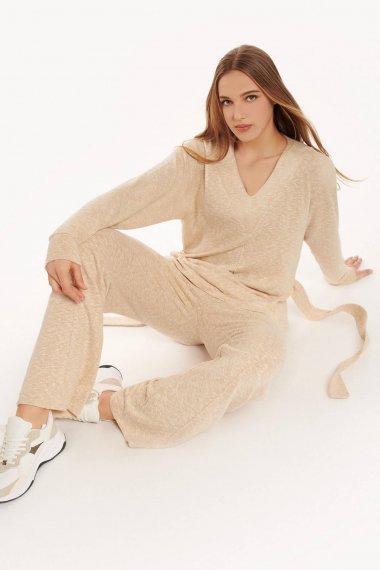 Удобна блуза с дълъг ръкав и колан Lisca Fashion Isadora KP - бежово AW2021