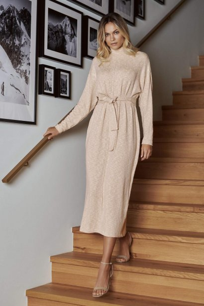 Удобна рокля с дълъг ръкав, с поло и колан Lisca Fashion Isadora KP - бежово AW2021