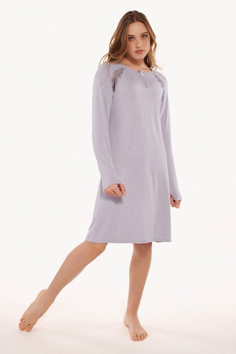 Дамска нощница с дантела и дълги ръкави в розово или лилаво Lisca Ivette AW2021 Лиска Fashion от www.liscashop.bg