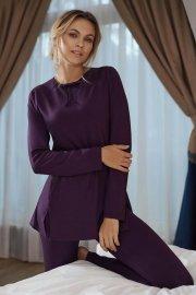 Дамска пижама с клин от мека вискоза и дълги ръкави в розово или лилаво Lisca Ivette AW2021 Лиска Fashion от www.liscashop.bg