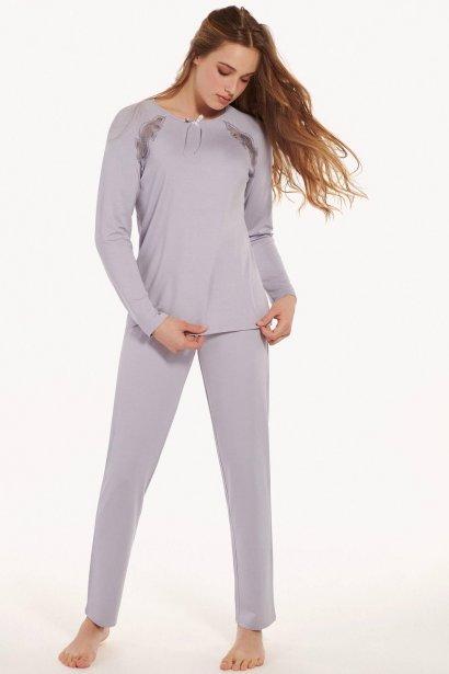 Дамска пижама с панталон от мека вискоза и дълги ръкави в розово или лилаво Lisca Ivette AW2021