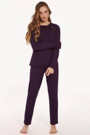 Дамска пижама с панталон от мека вискоза и дълги ръкави в розово или лилаво Lisca Ivette AW2021 Лиска Fashion от www.liscashop.bg