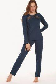 Пижами дълги панталони и горни дълги ръкави в синьо и червено Lisca Evelyn AW2021 Лиска Fashion от www.liscashop.bg