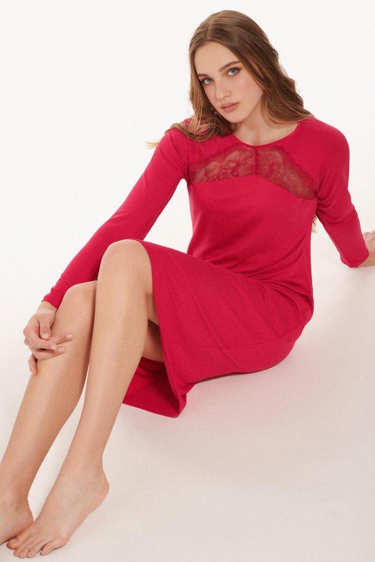 Женствената нощница с дълги ръкави в синьо и червено Lisca Evelyn AW2021 Лиска Fashion от www.liscashop.bg
