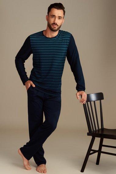 Мъжка пижама комплект с дълги ръкав и панталони, тъмно синя Lisca Hypnos 2021