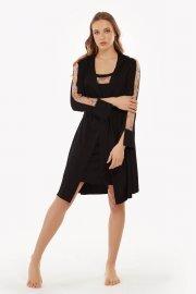 Елегантен халат с дълъг ръкав в черно и тъмно червено Lisca Selection Ruby AW2021 Лиска Selection от www.liscashop.bg