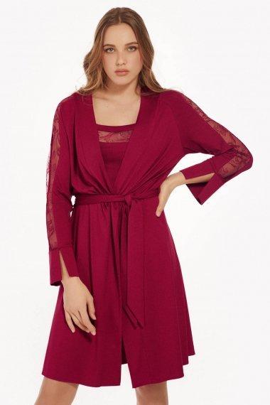 Елегантен халат с дълъг ръкав в черно и тъмно червено Lisca Selection Ruby AW2021