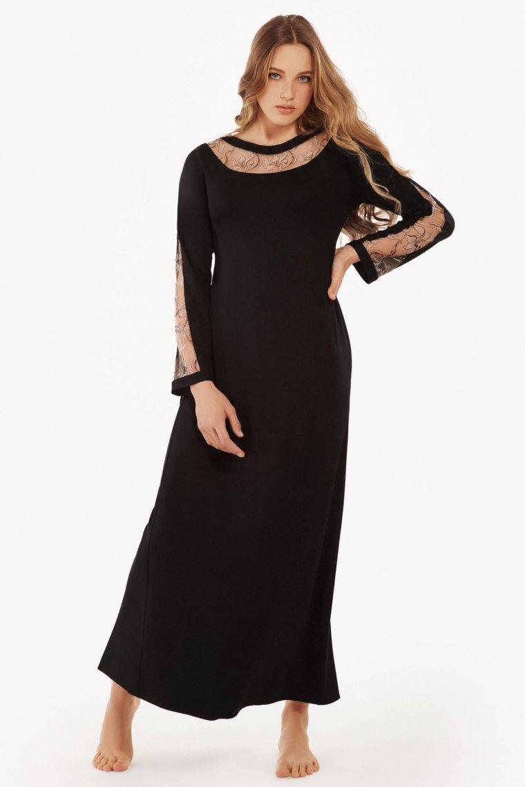 Елегантна дълга нощница с дълги ръкави в черно и тъмно червено Lisca Selection Ruby AW2021 Лиска Selection от www.liscashop.bg