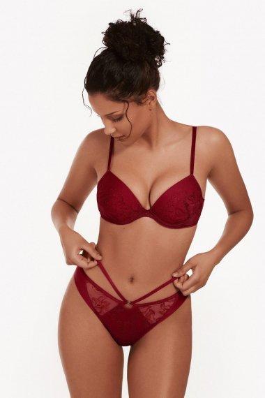 Еротично бельо изрязани бикини/ прашки с бродерия и тюл в червено и телесно Lisca Selection Ruby AW2021