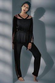 Пижама с дълги крачоли и с дълги ръкави в черно и тъмно червено Lisca Selection Ruby AW2021 Лиска Selection от www.liscashop.bg