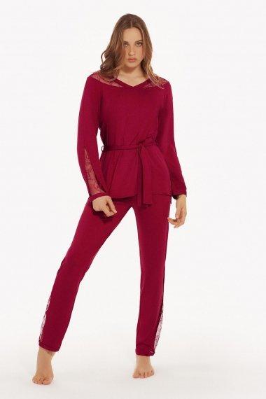 Пижама с дълги крачоли и с дълги ръкави в черно и тъмно червено Lisca Selection Ruby AW2021