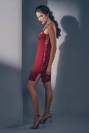 Съблазнителна нощница с тънки презрамки над коляното в черно и тъмно червено Lisca Selection Ruby AW2021 Лиска Selection от www.liscashop.bg