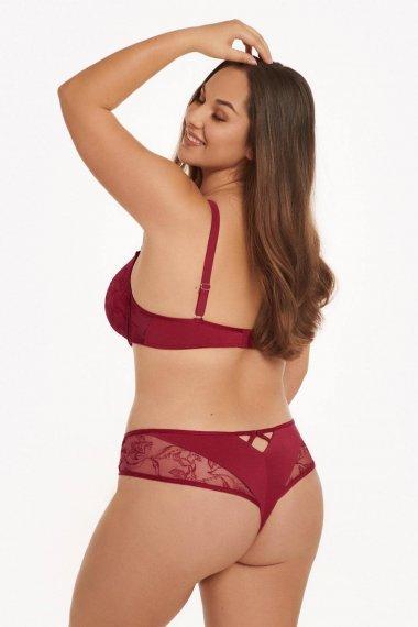 Съблазнителни бикини бразилиани с бродерия и тюл в червено и телесно Lisca Selection Ruby AW2021