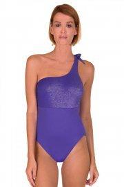 Модерен цял бански костюм с мека чашка без банели и една презрамка в синьо и черно Lisca Bilbao 2019 Лиска Selection SW от www.liscashop.bg