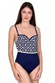 Женствен цял бански костюм с подплънки и банели в син цвят Lisca Costa Rica 2020 Лиска Fashion SW от www.liscashop.bg