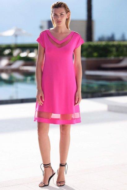Плажна рокля с къси ръкави в розово и черно Lisca Porto Montenegro 2021