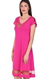 Плажна рокля с къси ръкави в розово и черно Lisca Porto Montenegro 2021 Лиска Selection SW от www.liscashop.bg