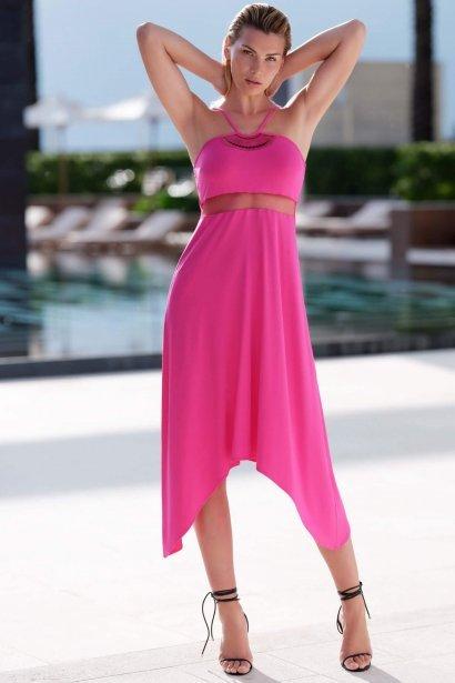 Дълга плажна рокля с тънки презрамки в розово и черно Lisca Porto Montenegro 2021