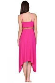 Дълга плажна рокля с тънки презрамки в розово и черно Lisca Porto Montenegro 2021 Лиска Selection SW от www.liscashop.bg