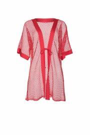 Плажен мрежест кафтан с къси ръкави в червено, зелен или слонова кост Lisca Cheek Ibiza 2021 Лиска Lisca Cheek SW от www.liscashop.bg
