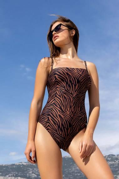 Цял бански костюм с меки чашки без банели в кафяво или синьо Lisca Fashion Lima 2021