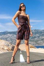 Къси дамски бермуди с връзка около талията в кафяво или синьо Lisca Fashion Lima 2021 Лиска Fashion SW от www.liscashop.bg