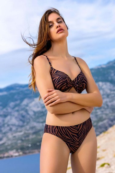 Класически бански бикини lower cut в кафяво или синьо Lisca Fashion Lima 2021