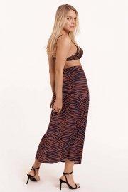 Лятна пола с висока талия кафяво или синьо Lisca Fashion Lima 2021 Лиска Fashion SW от www.liscashop.bg